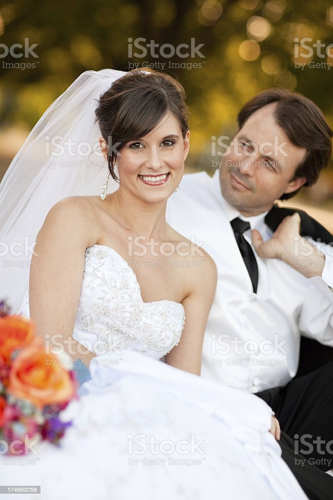Color Portrait of Groom Gazing at His Smiling Bride royalty-free stock photo