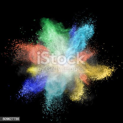 istock Color powder explosion isolated on black 509627735