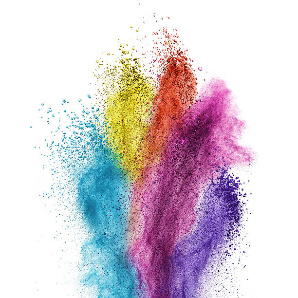 color powder explosion isolated on white - abstract multicolored powder explosion stock photos and pictures