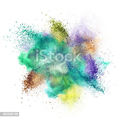 istock Color powder explosion isolated on white 492530195