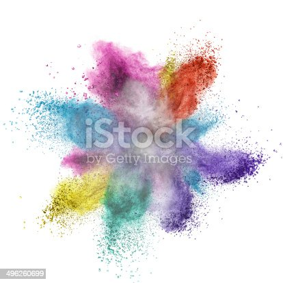 istock Color powder explosion isolated on white 496260699