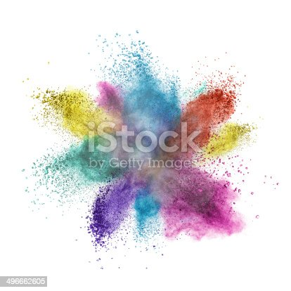 istock Color powder explosion isolated on white 496662605