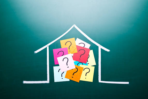 color question mark in drawing house - mortgages and loans stock pictures, royalty-free photos & images