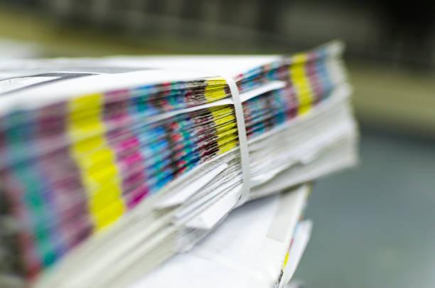color reference bars of printing paper in printshop - desperdício alimentar imagens e fotografias de stock