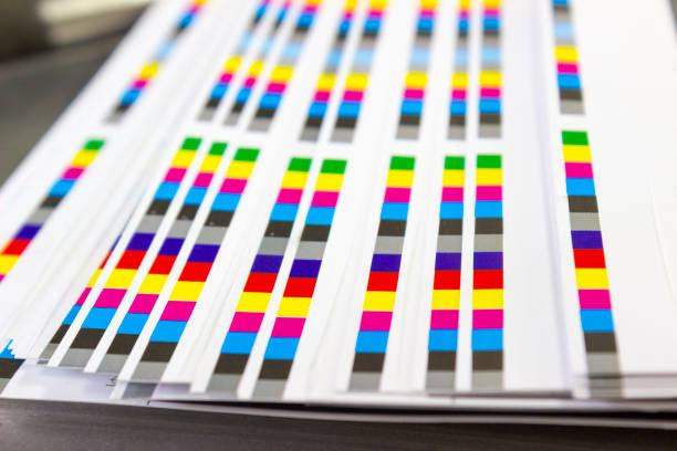 color reference bars of printing process in printshop - desperdício alimentar imagens e fotografias de stock