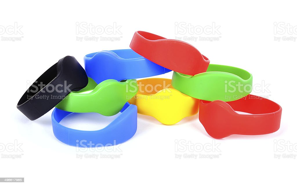 color rfid bracelet stock photo