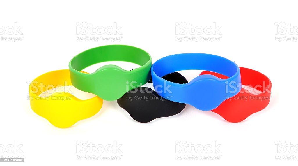 Color rfid bracelets stock photo