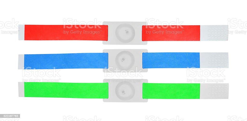 color rfid id bracelets stock photo