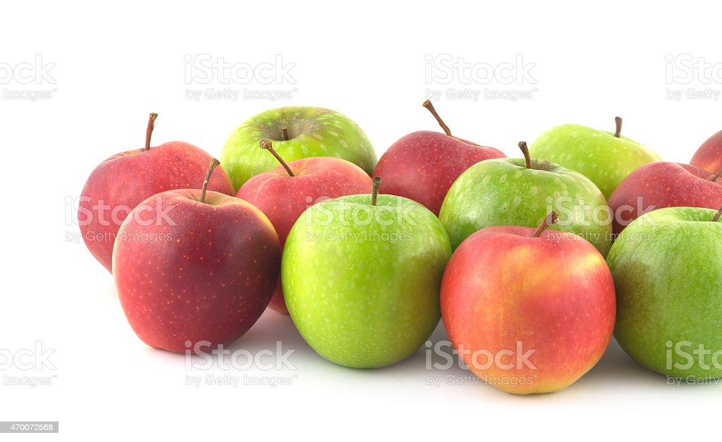 Color ripe apples isolated closeup stock photo