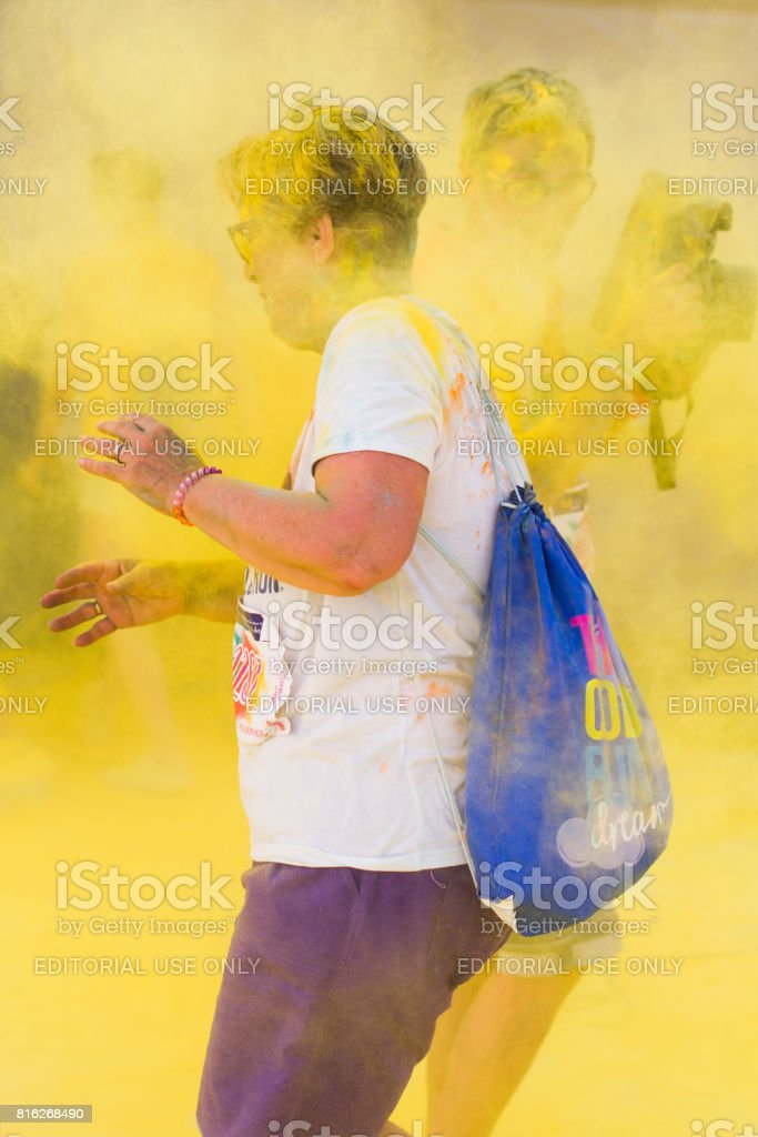 Color run, lido di camaiore ,Italy stock photo