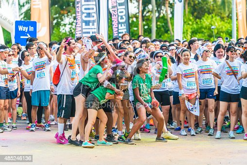 Singapore, Singapore - August 22, 2015: Crowds of unidentified people at The Color Run on Aug 22, 2015 in Singapore.