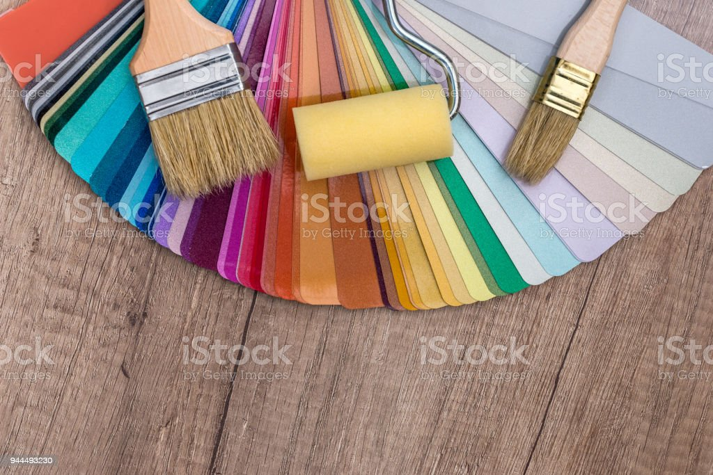color sample with brush and roller . stock photo