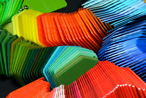 color samples for industrial design and injection moulding process