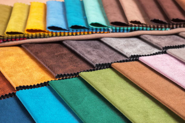 Color samples of a upholstery fabric stock photo
