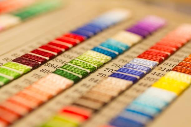 Muestras de color de hilo de bordar - foto de stock