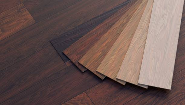 Color samples of wooden laminate floor. 3D rendered illustration. stock photo