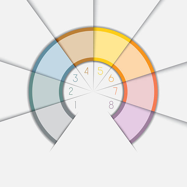 color semicircle for infographic text areas on 8 positions - 8 infographic stock photos and pictures