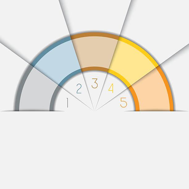 couleur modèle de demi-cercle avec un espace pour le texte sur cinq positions  - demi cercle photos et images de collection