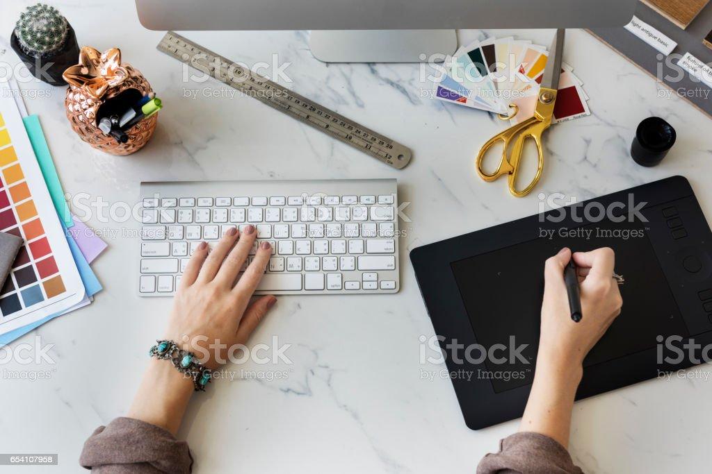 Color Shade Swatch Stationary Designer Creative Concept stock photo