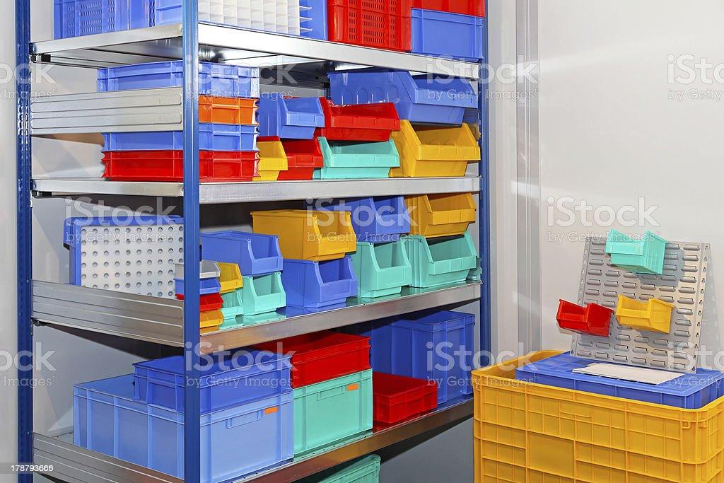 Color shelf bins stock photo