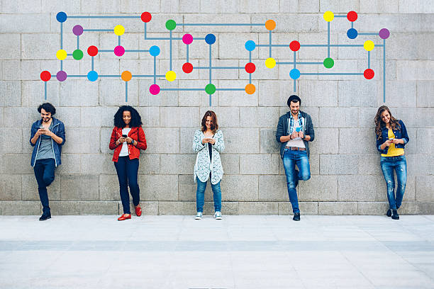 Color Social Networking stock photo