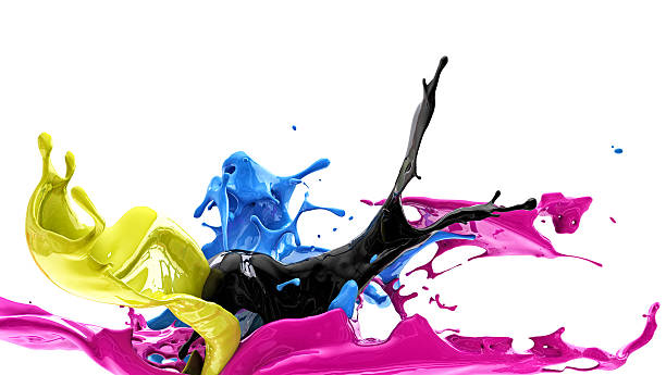 color splash, cmyk - spray stock photos and pictures