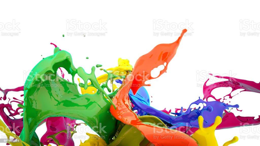 顏色飛濺 - 免版稅倒出圖庫照片