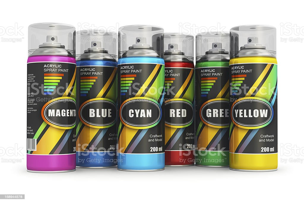Color spray paint cans royalty-free stock photo