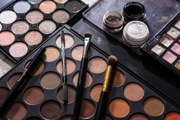 Color Stories - Pastels Cosmetics nude on the table top view ceremonial make up stock pictures, royalty-free photos & images