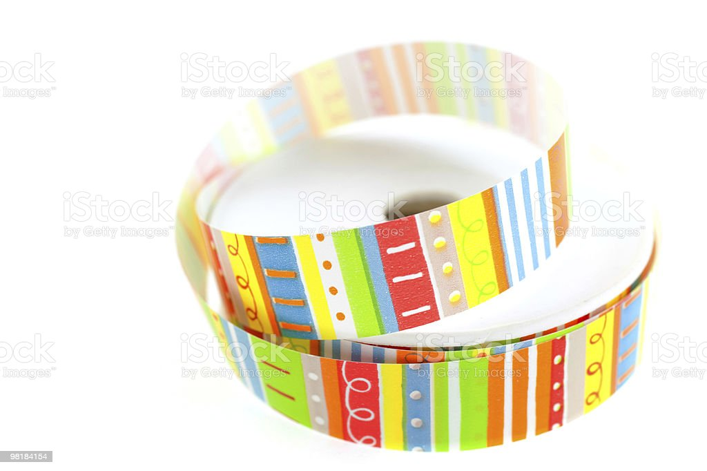 color striped ribbon spool royalty-free stock photo