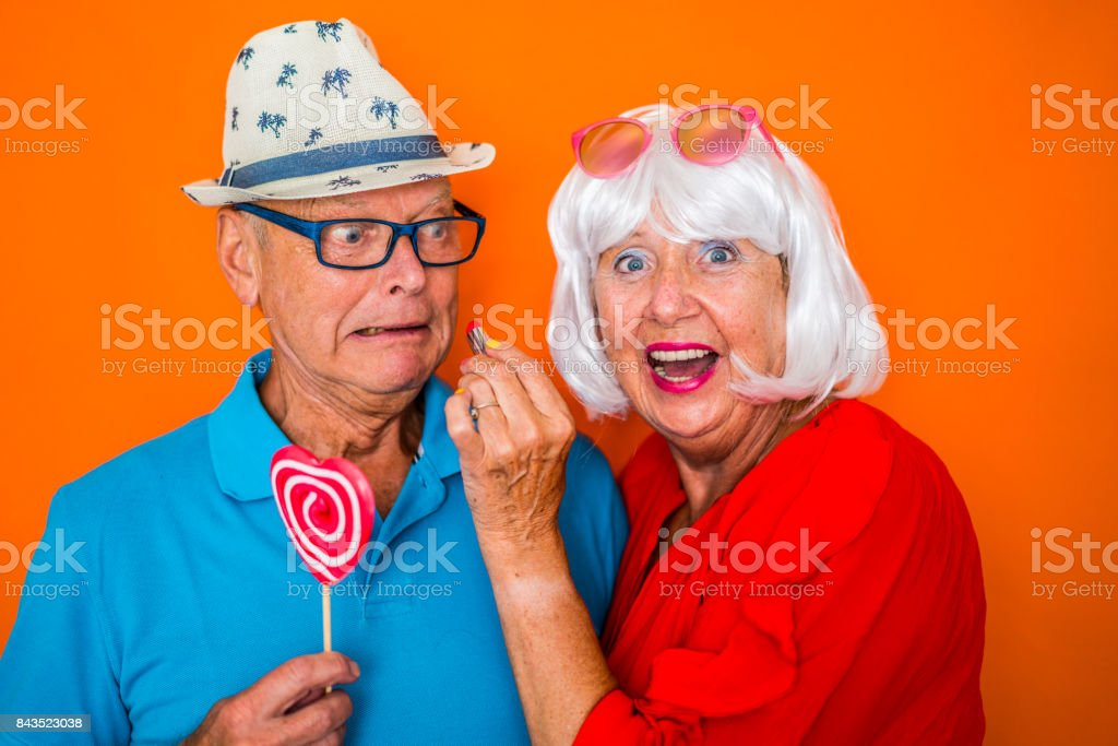 color surge for stylish seniors funny senior couple in good mood