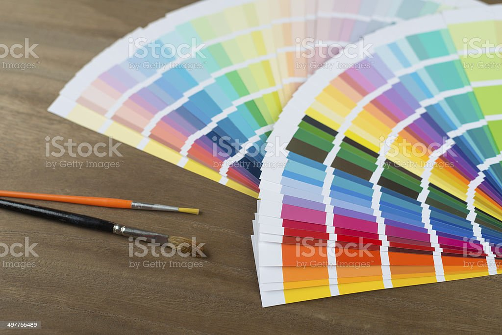 color swatch and brushes stock photo