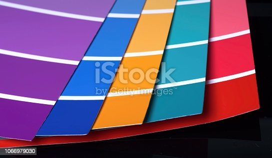 istock Color swatch. Closeup of open sample colors catalogue. 1066979030