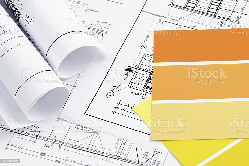 Color Swatch for home improvement with blueprints plan royalty-free stock photo