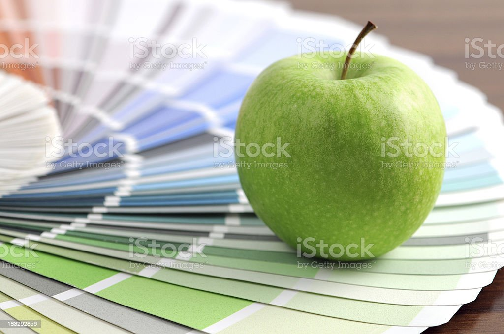 Color Swatch with green apple royalty-free stock photo