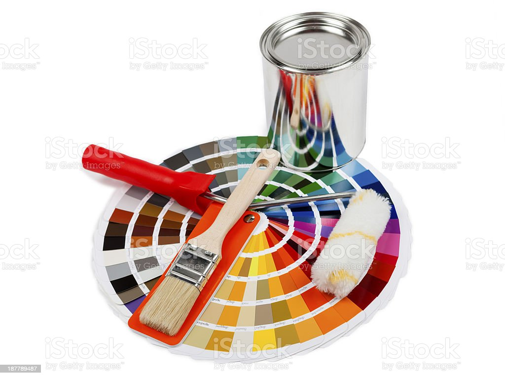 Color Swatch with paintbrush, painter roller and  colorbox stock photo