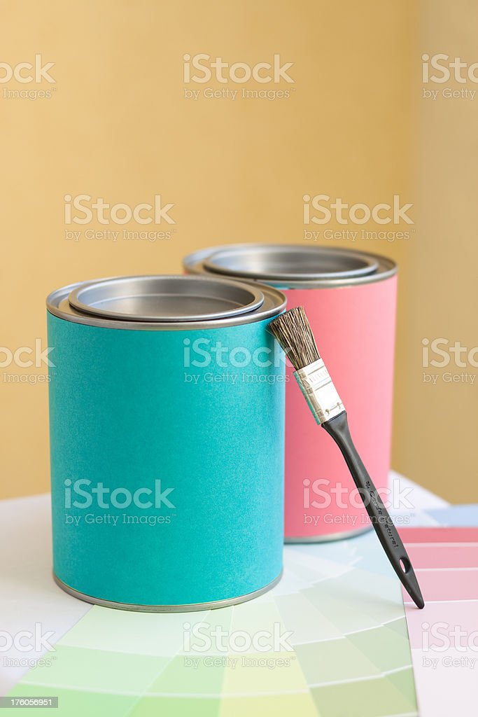 Color swatches and paint cans royalty-free stock photo
