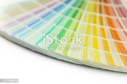Color swatches book. Rainbow sample colors catalog. Isolated on white background. Color guide for design