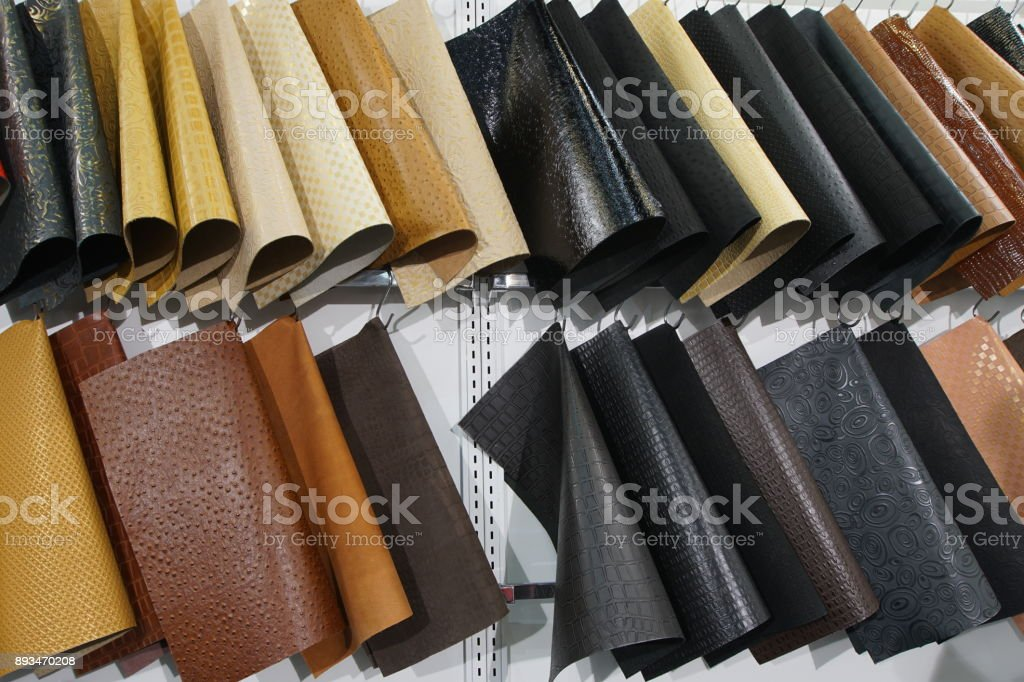 Color Swatches of leather cow hide in many style type in Row,...