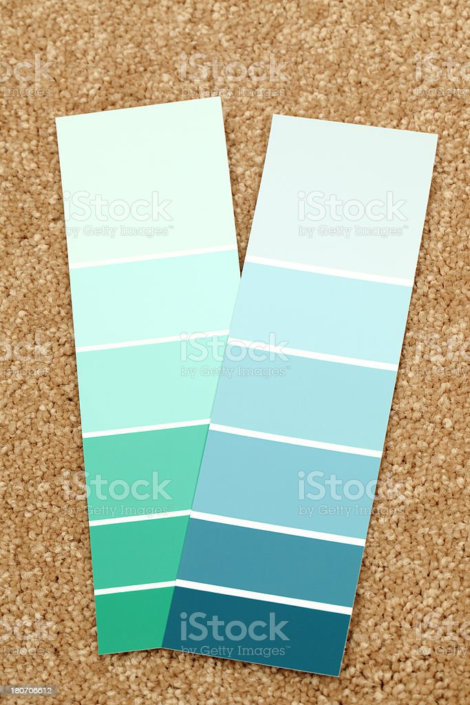 Color Swatches or Paint Samples on Carpet royalty-free stock photo