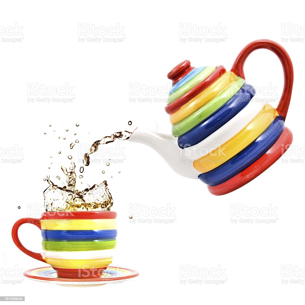 color teapot with cup and splash of tea isolated royalty-free stock photo