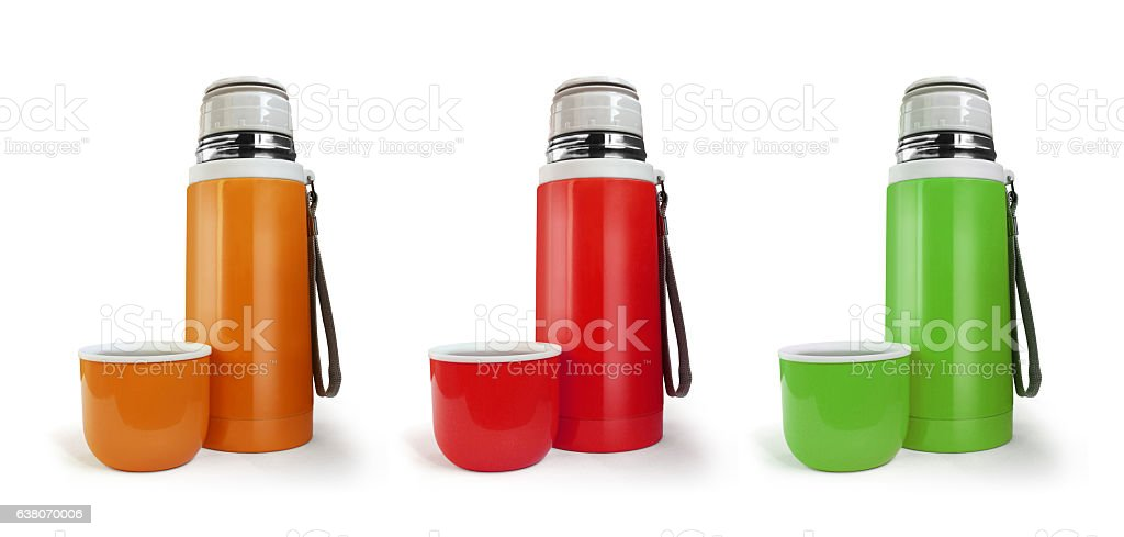 Color thermos flask with a cup isolated on white background stock photo