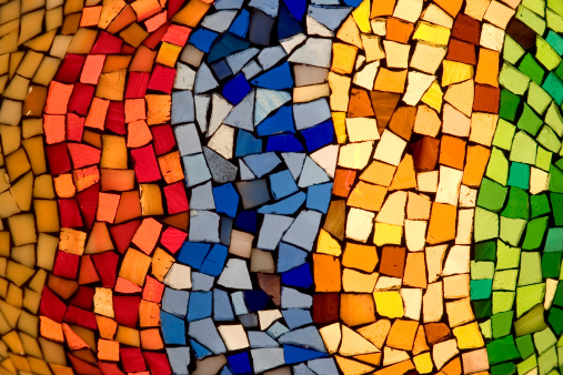 Color tiles pattern lighten from behind.