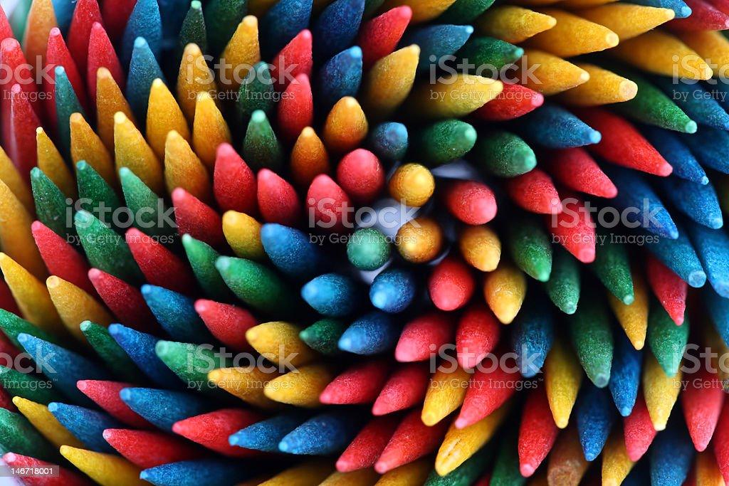 Color toothpicks stock photo