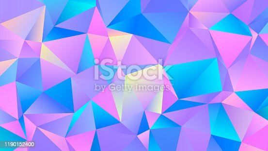 Colorful Vibrant Triangular Background. Pastel Colored Abstract Polygonal Design