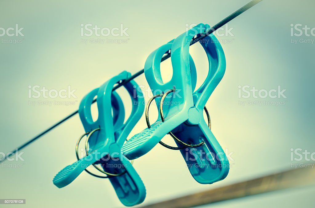 Color vintage effect Image for blue plastic clothespins, Fashion...