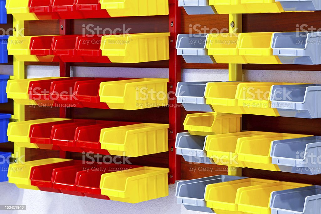 Color wall shelves stock photo