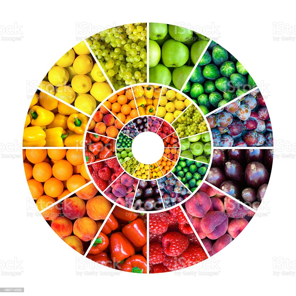 color wheel concept fruits - vegetables stock photo