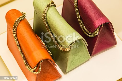 colorful women bag display on white background