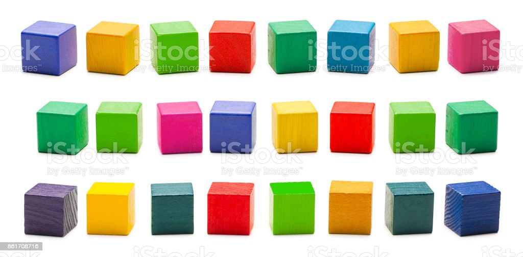 Color Wood Blocks Toys, Blank Multicolored Wooden Cube Bricks, White Isolated stock photo
